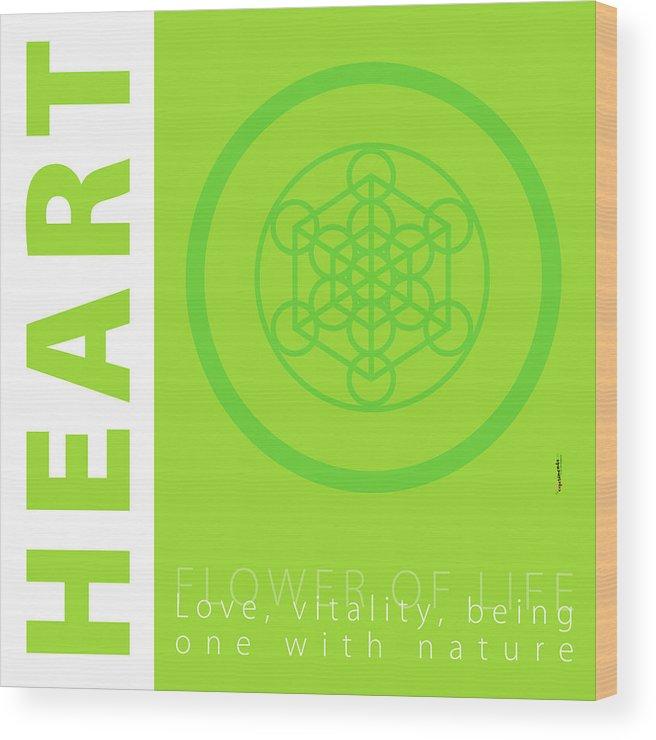 Green Wood Print featuring the digital art Heart Chakra Series Three by Experimenda