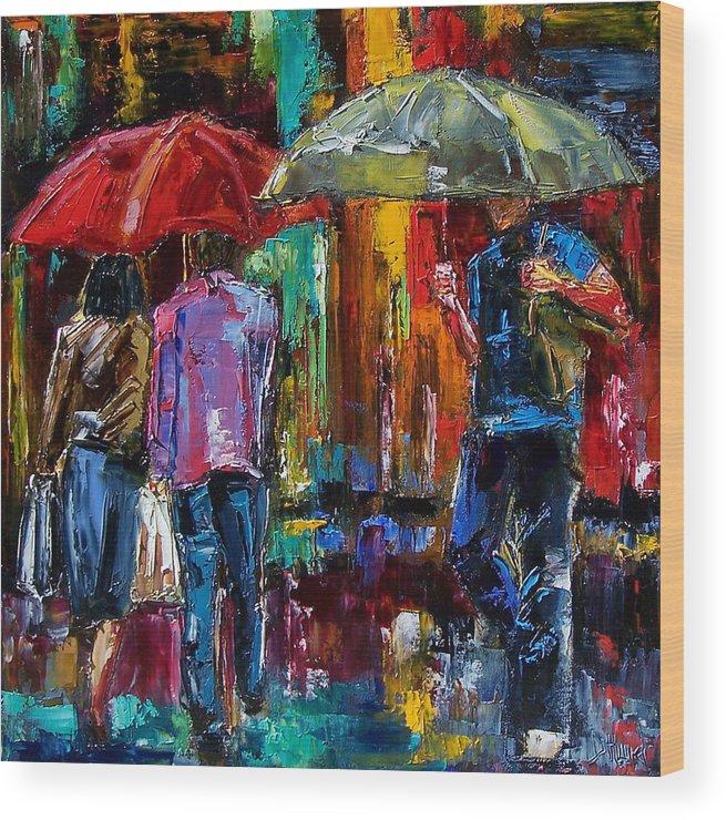 Street Scene Wood Print featuring the painting Heavy Rain by Debra Hurd