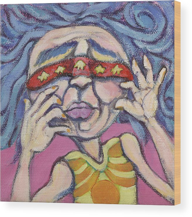 Original Painting Wood Print featuring the painting Hide And Seek by Michelle Spiziri
