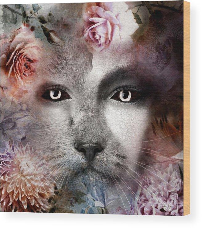 Digital Art Wood Print featuring the digital art Hiding Catlady by Artful Oasis