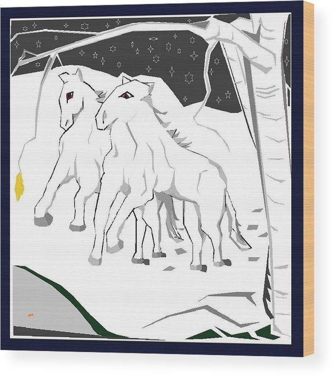 Wood Print featuring the digital art Horses On A Snowy Evening by Ronnie Lee