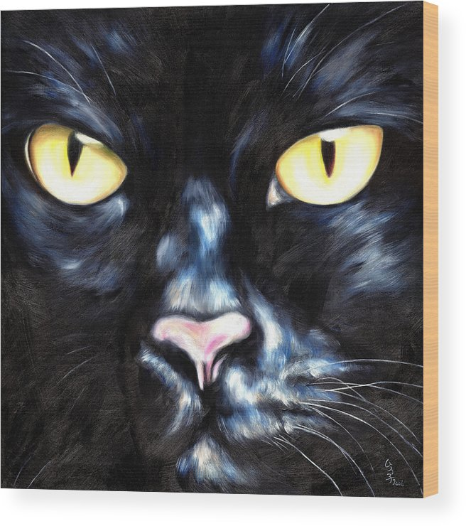 Black Cat Wood Print featuring the painting I Am Night by Hiroko Sakai