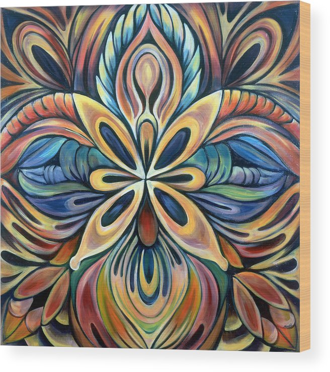 Mandala Wood Print featuring the painting Illumination by Shadia Derbyshire