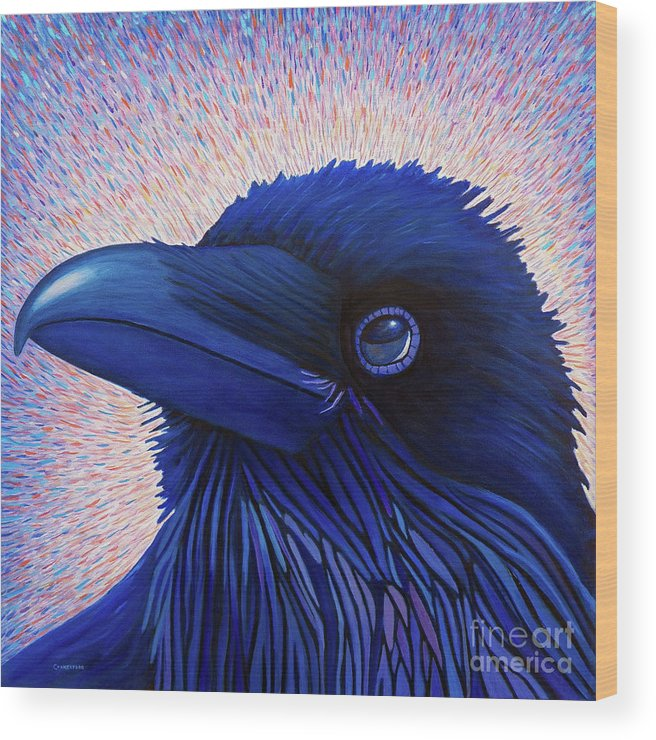Raven Wood Print featuring the painting Inspiration by Brian Commerford