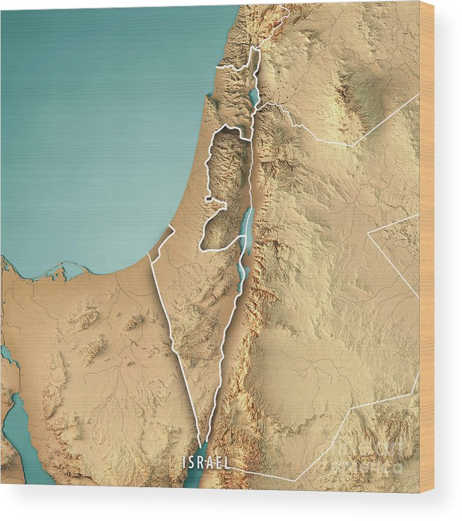 Israel Country 3d Render Topographic Map Border Wood Print by