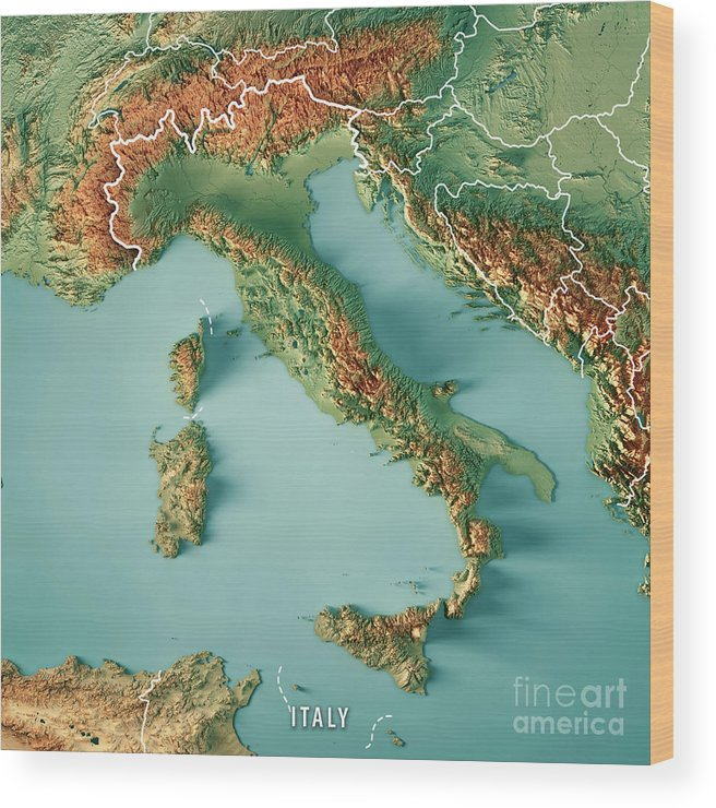 image relating to Printable Maps of Italy named Italy State 3d Render Topographic Map Border Picket Print
