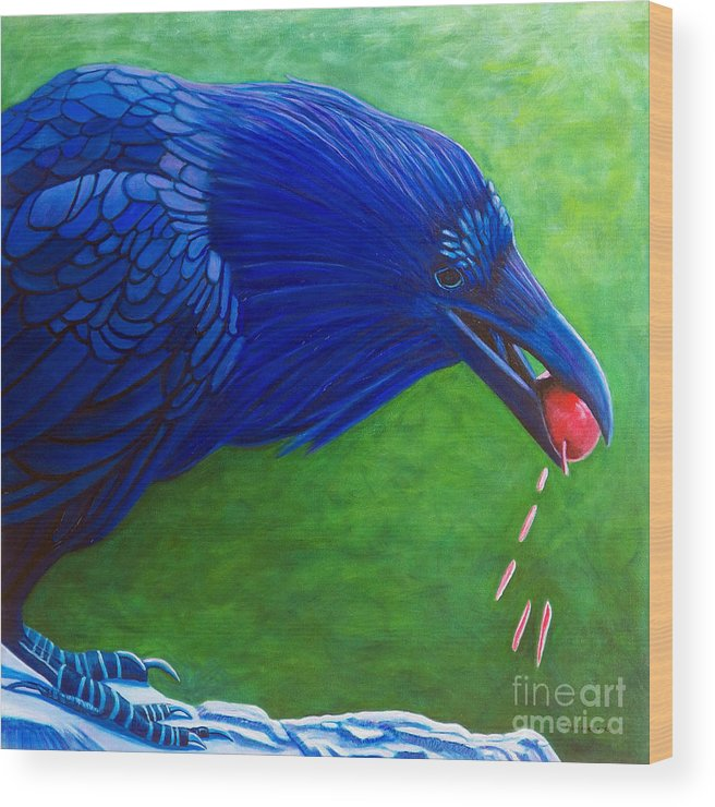 Raven Wood Print featuring the painting Joie De Vivre by Brian Commerford