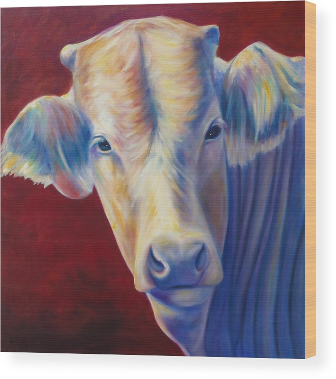 Bull Wood Print featuring the painting Jorge by Shannon Grissom