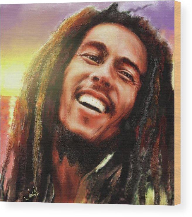 Bob Marley Wood Print featuring the painting Joyful Marley Bob Marley Portrait by Jennifer Hickey