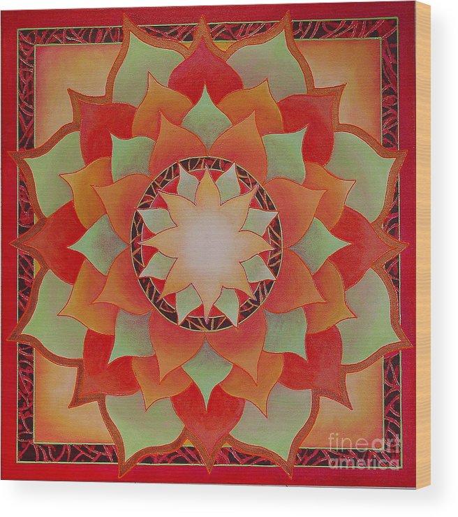 Mandala Wood Print featuring the painting Juicy Lotus by Charlotte Backman