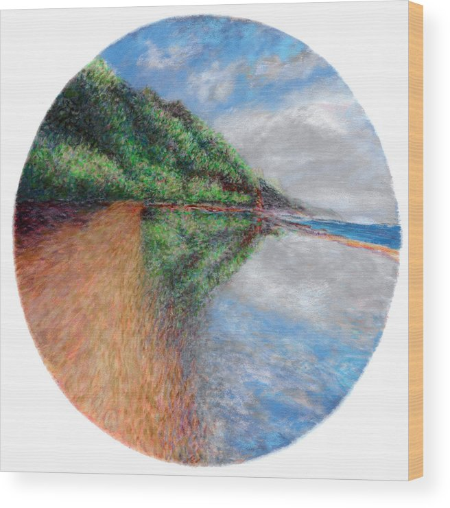 Rainbow Colors Pastel Wood Print featuring the painting Ke'e Tondo by Kenneth Grzesik