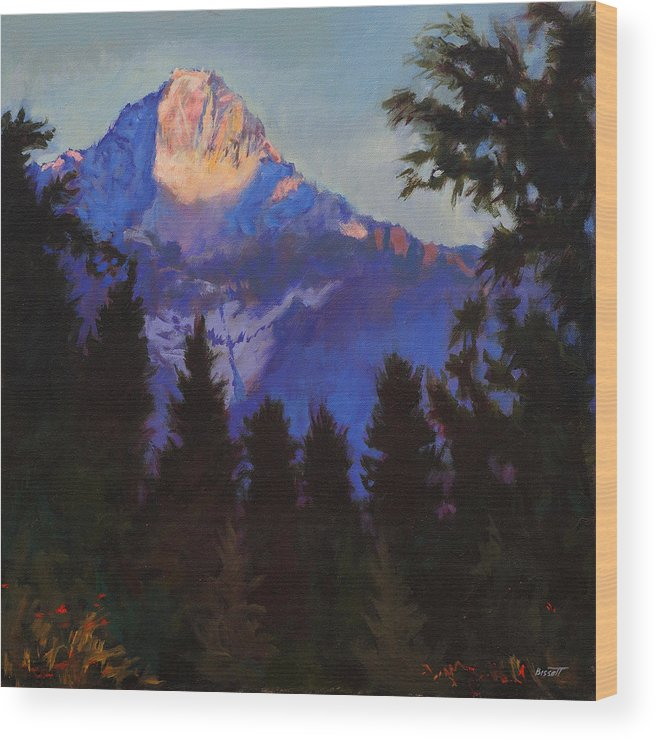 Glacier Wood Print featuring the painting Last Rays by Robert Bissett