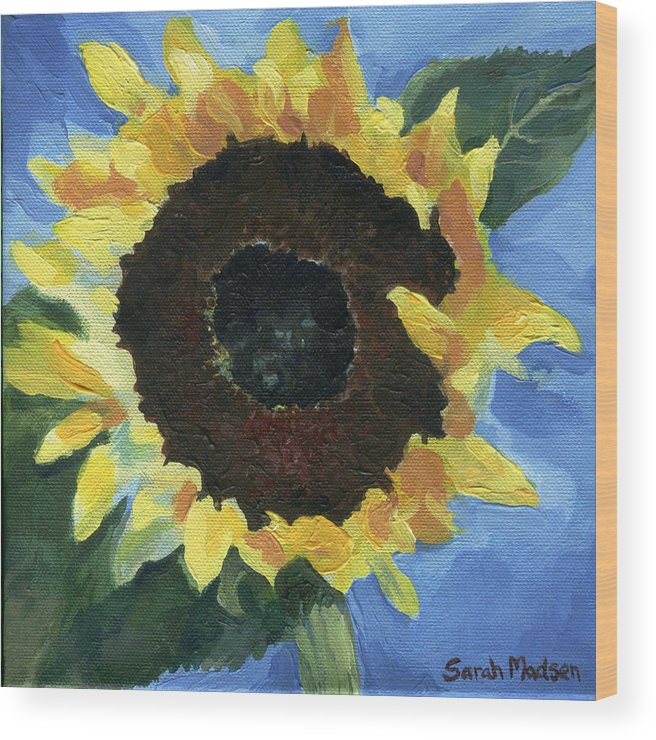 Sunflower Wood Print featuring the painting Little Miss Sunshine by Sarah Madsen