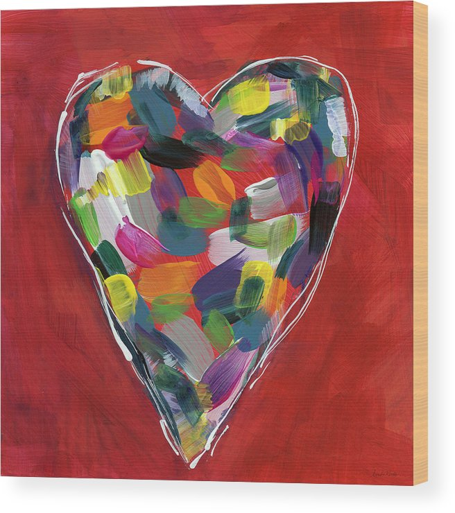 Heart Wood Print featuring the painting Love Is Colorful - Art By Linda Woods by Linda Woods