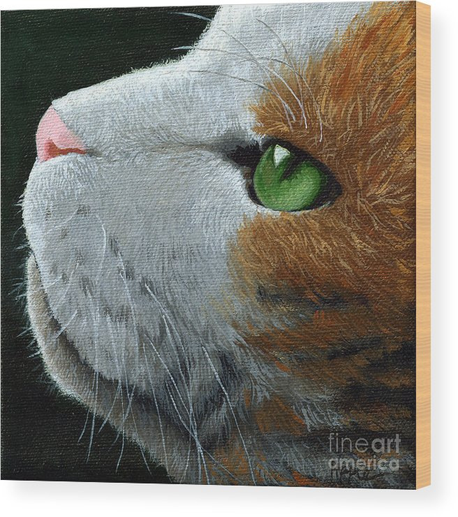 Cat Portrait Wood Print featuring the painting Max - Neighbor Cat Painting by Linda Apple