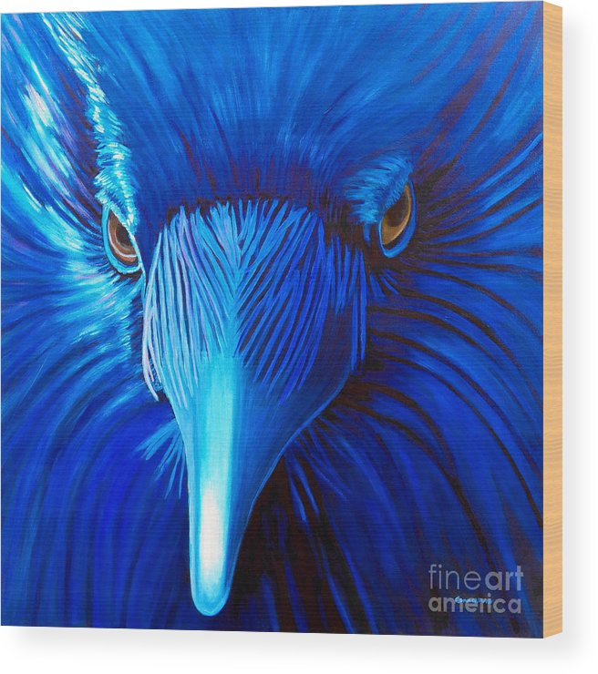 Raven Wood Print featuring the painting Midnight Magic by Brian Commerford
