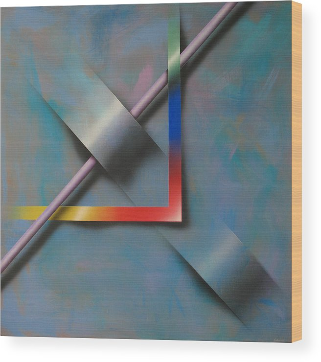 Contemporary Wood Print featuring the painting Modul 5 by Laine Garrido