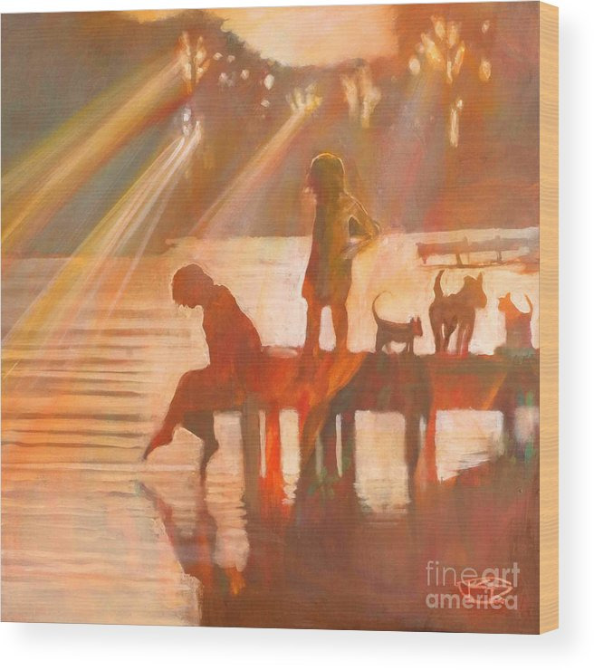 Children Wood Print featuring the painting Mom Says You Gotta Come Now by Kip Decker
