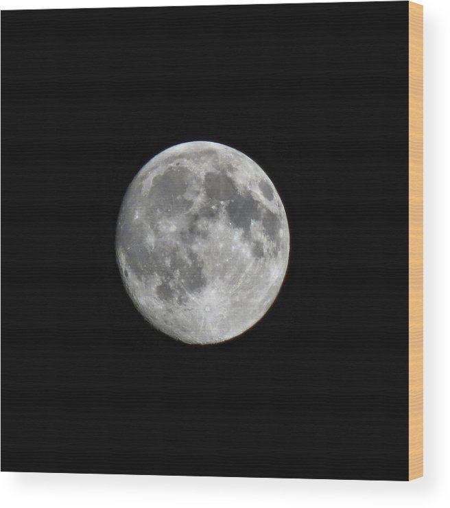 Moon Wood Print featuring the photograph Moon Over Box Elder by Michael Daniels