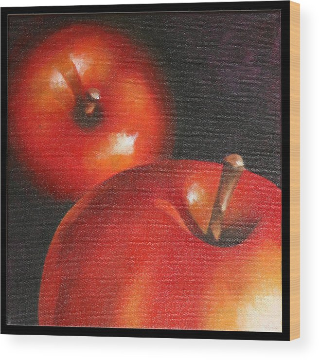 Still Life Wood Print featuring the painting More Red Apples by Jose Romero