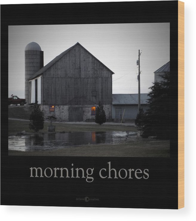 Poster Wood Print featuring the photograph Morning Chores by Tim Nyberg