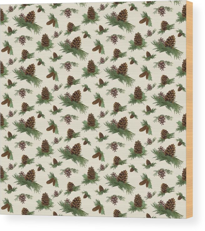 Pine Cones Wood Print featuring the painting Mountain Lodge Cabin In The Forest - Home Decor Pine Cones by Audrey Jeanne Roberts