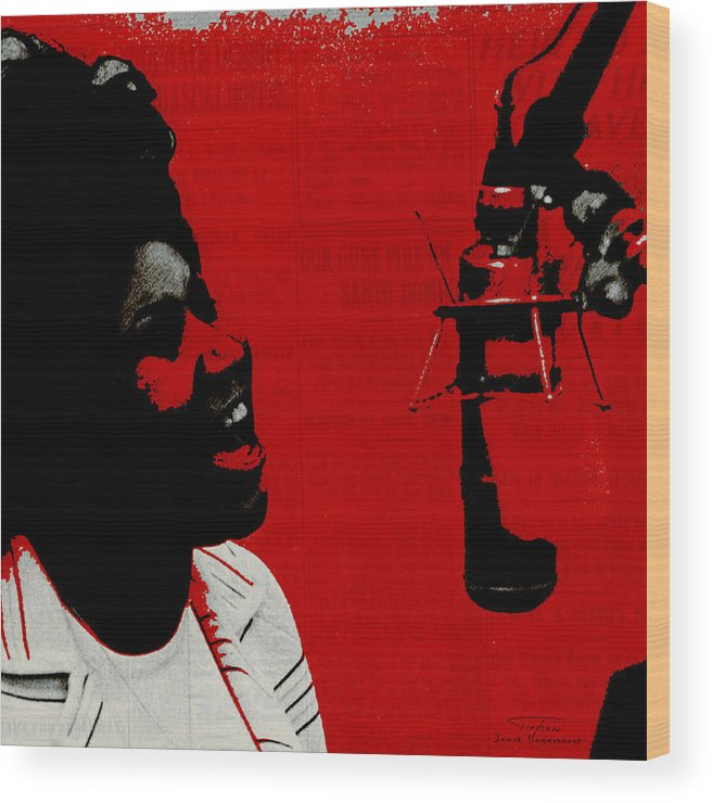 Aretha Franklin Wood Print featuring the painting Music Icons - Aretha Franklin Ill by Joost Hogervorst