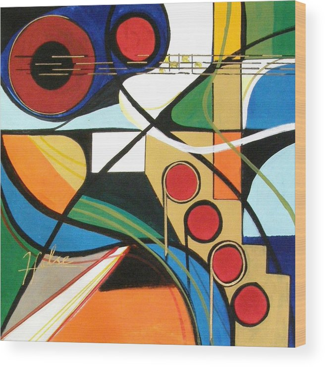 Music Wood Print featuring the painting Musical Abstract by Gina Hulse