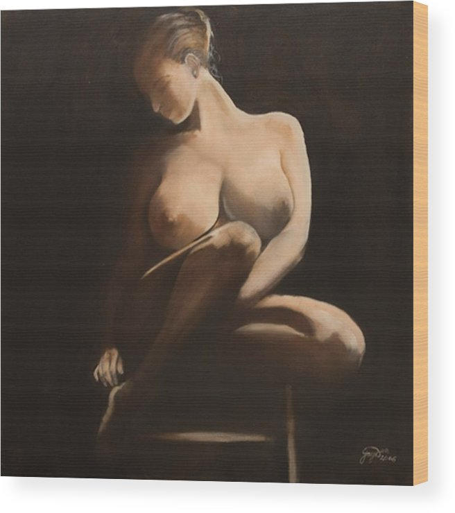 Figurative Wood Print featuring the painting My Coy Mistress by Jane Simpson