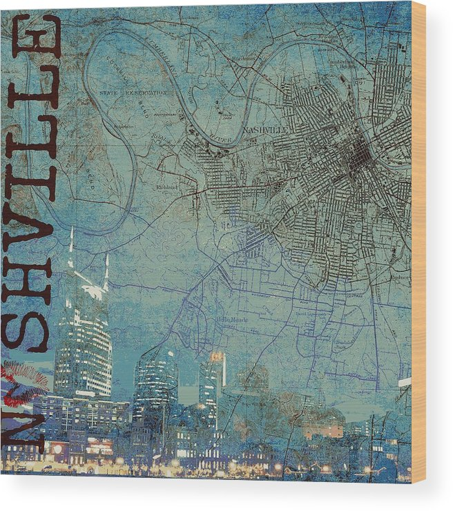 Brandi Fitzgerald Wood Print featuring the digital art Nashville Skyline Map by Brandi Fitzgerald