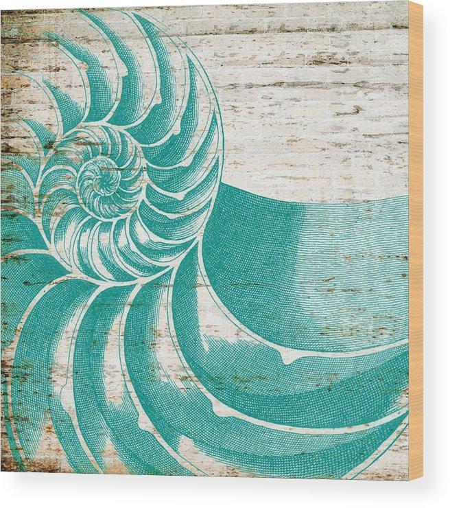 Brandi Fitzgerald Wood Print featuring the digital art Nautilus Shell Distressed Wood by Brandi Fitzgerald
