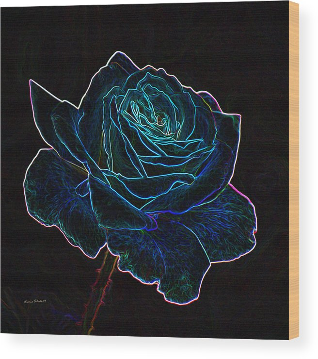 Flowers Wood Print featuring the mixed media Neon Rose 3 by Ernie Echols