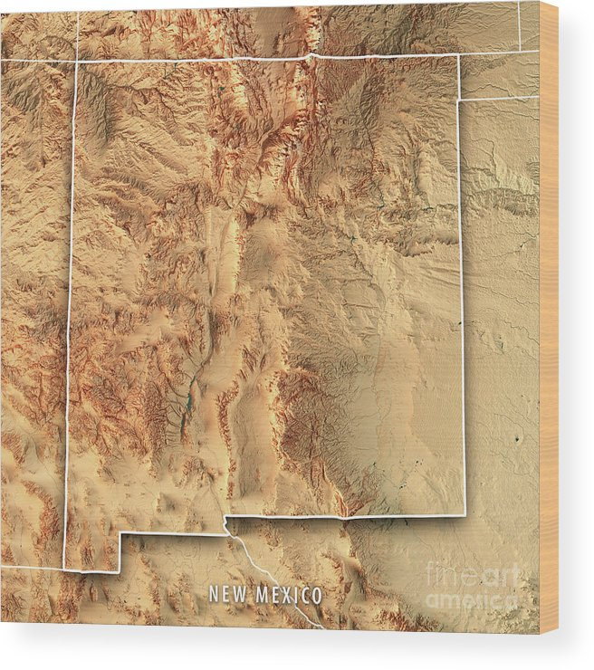 New Mexico State Usa 3d Render Topographic Map Border Wood Print By