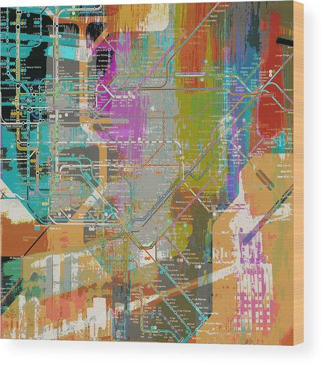 Brandi Fitzgerald Wood Print featuring the digital art New York Subway Map by Brandi Fitzgerald