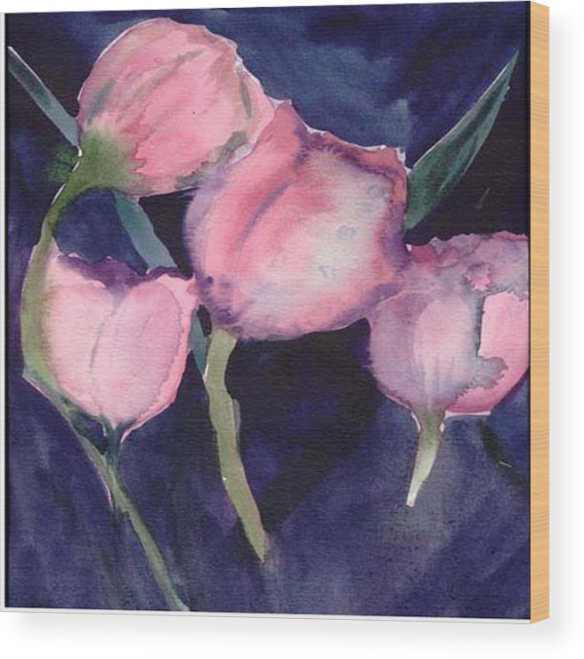 Tulips Wood Print featuring the painting Night Tulips by Janet Doggett