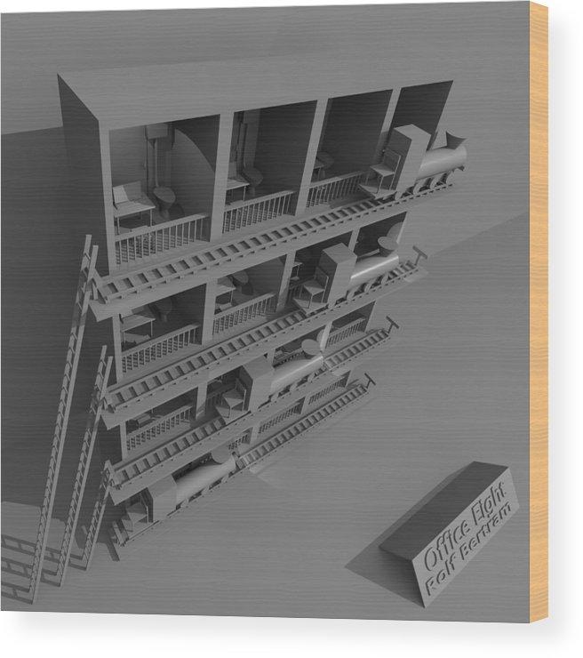 Absurd Wood Print featuring the digital art Office Eight by Rolf Bertram