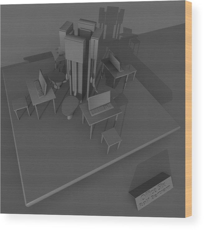 Absurd Wood Print featuring the digital art Office Six by Rolf Bertram