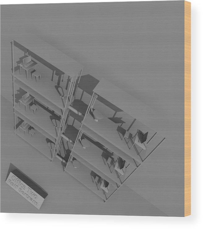 Absurd Wood Print featuring the digital art Office Two by Rolf Bertram