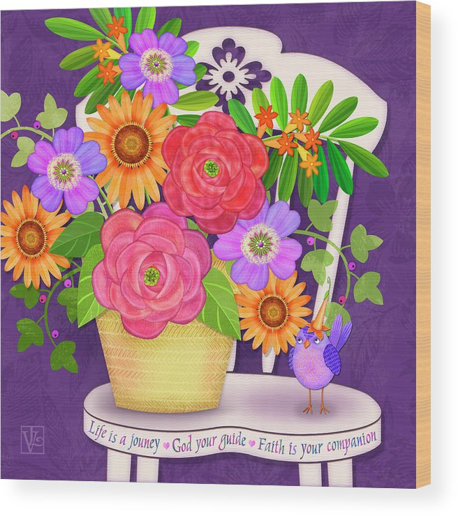 Flowers Wood Print featuring the digital art On The Bright Side - Flowers Of Faith by Valerie Drake Lesiak