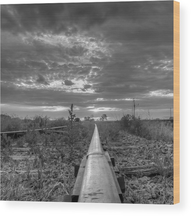 Rail Wood Print featuring the photograph One Rail by HW Kateley