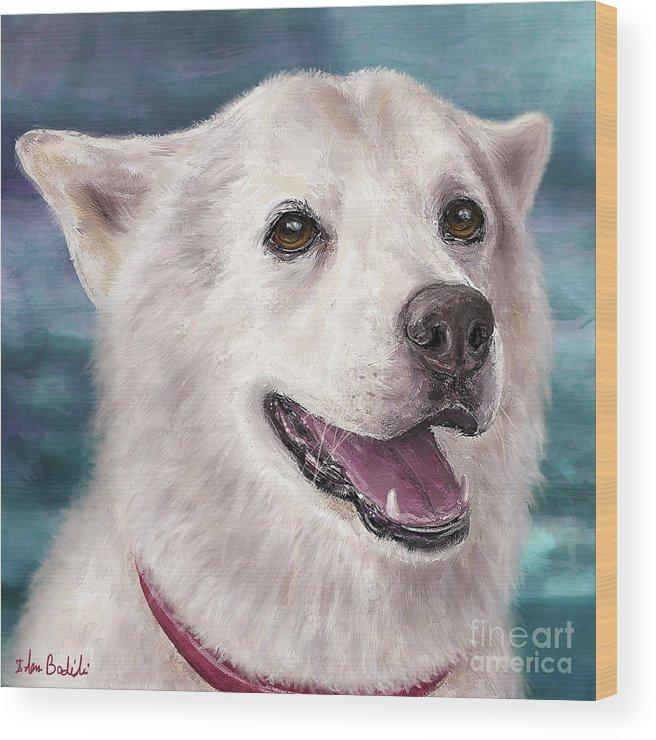 Alaskan Malamute Wood Print featuring the digital art Painting Of A White And Furry Alaskan Malamute by Idan Badishi