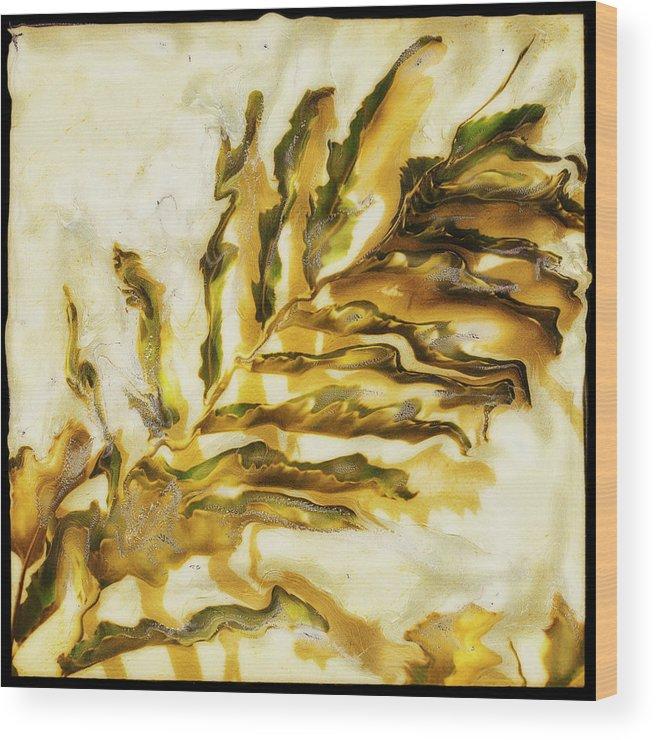 Paul Tokarski Wood Print featuring the photograph Palm On Wall by Paul Tokarski