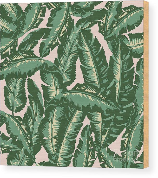 Leaves Wood Print featuring the digital art Palm Print by Lauren Amelia Hughes