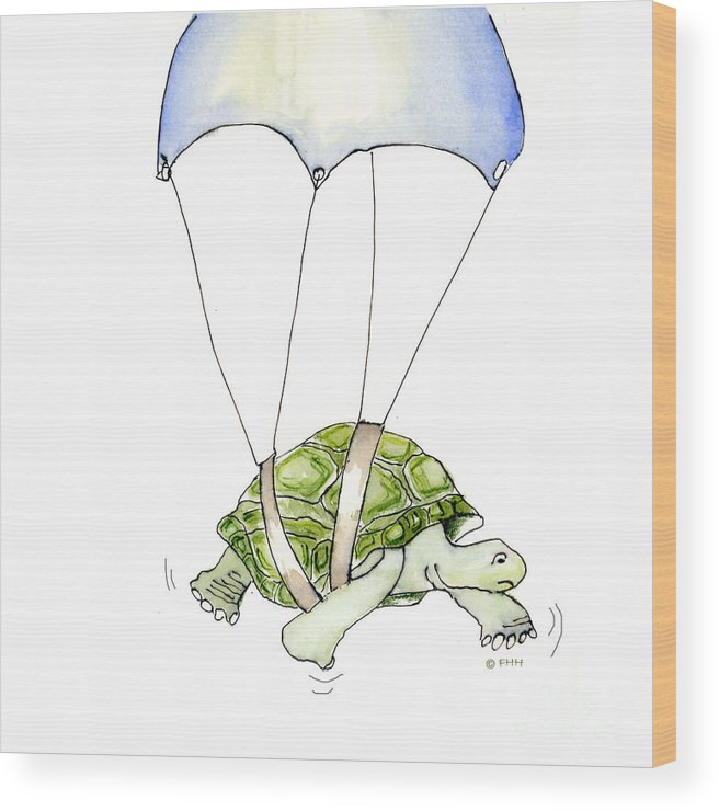 Illustration Wood Print featuring the drawing Parachute Turtle by Fran Henig