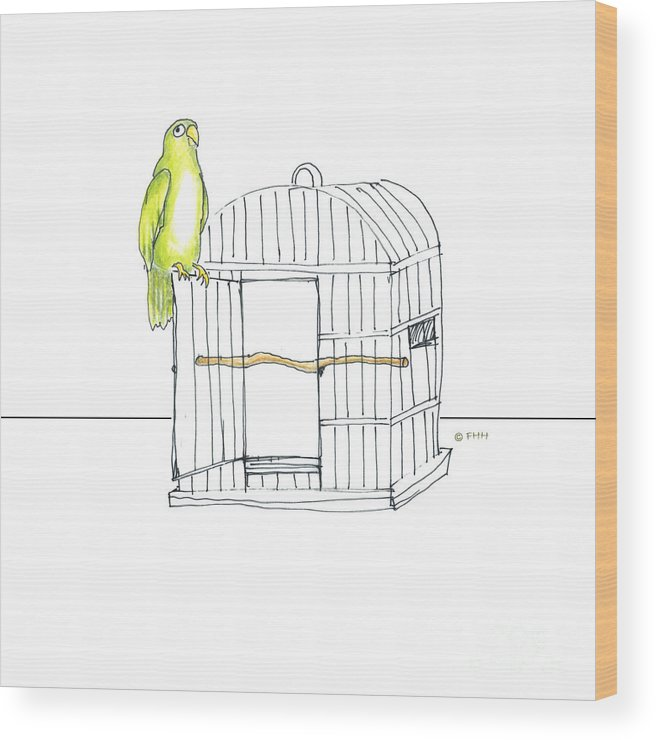 Illustration Wood Print featuring the drawing Parrot And Cage by Fran Henig