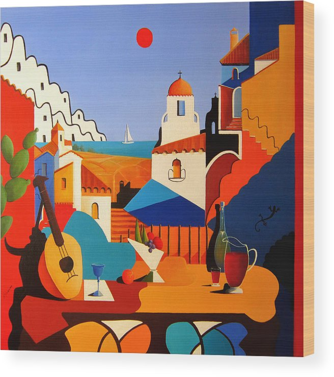 Passion For Life Wood Print featuring the painting Passion For Life Spain by Ray Gilronan