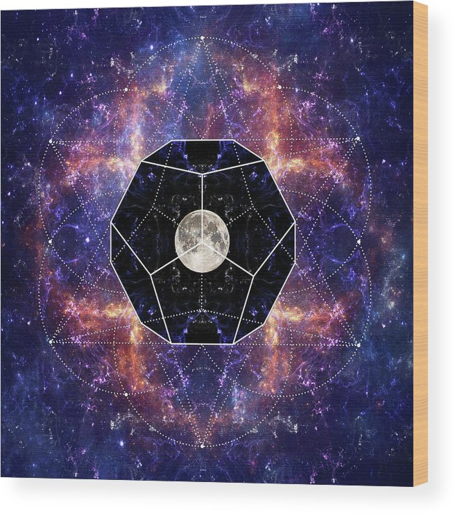 Moon Wood Print featuring the digital art Photo Of The Moon And Sacred Geometry by Sergey Nosov