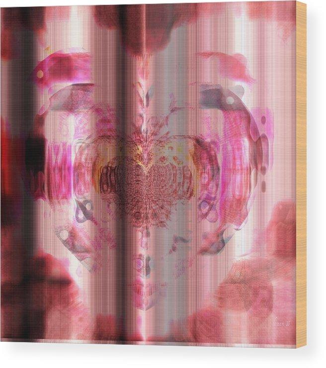 Fania Simon Wood Print featuring the mixed media Pink Against Cancer by Fania Simon