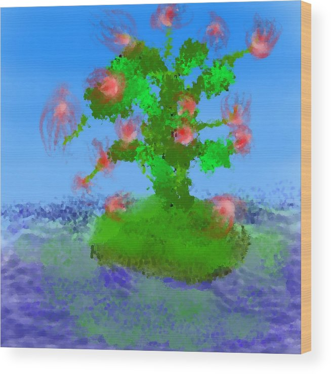 Landscape.sea.birds.island.sky.tree .rest Stop.wave.wind. Wood Print featuring the digital art Pink Birds Ongreen Island by Dr Loifer Vladimir