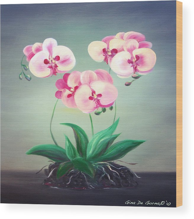 Original Wood Print featuring the painting Pink Orchids 2 by Gina De Gorna